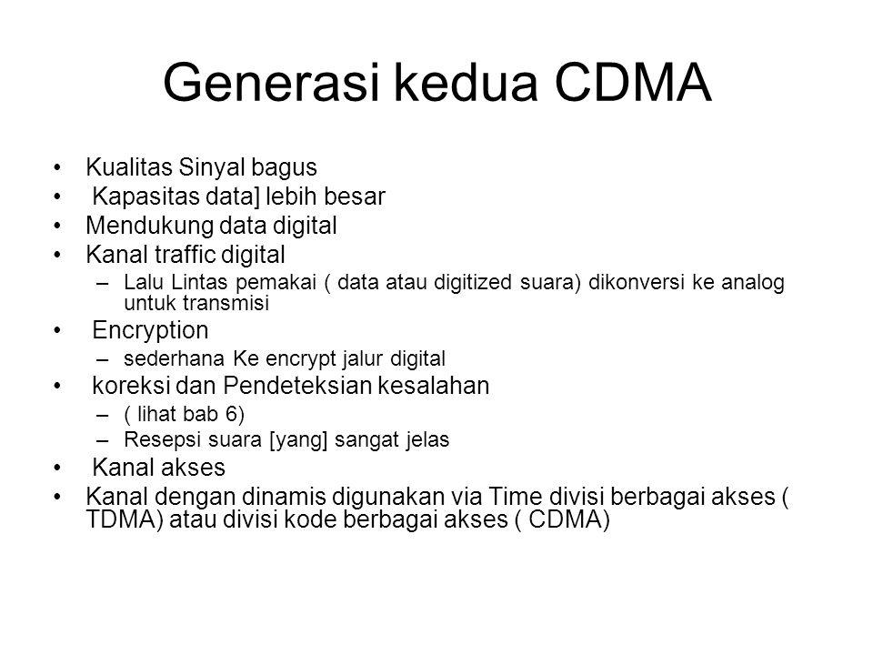 Generasi kedua CDMA Kualitas Sinyal bagus Kapasitas data] lebih besar